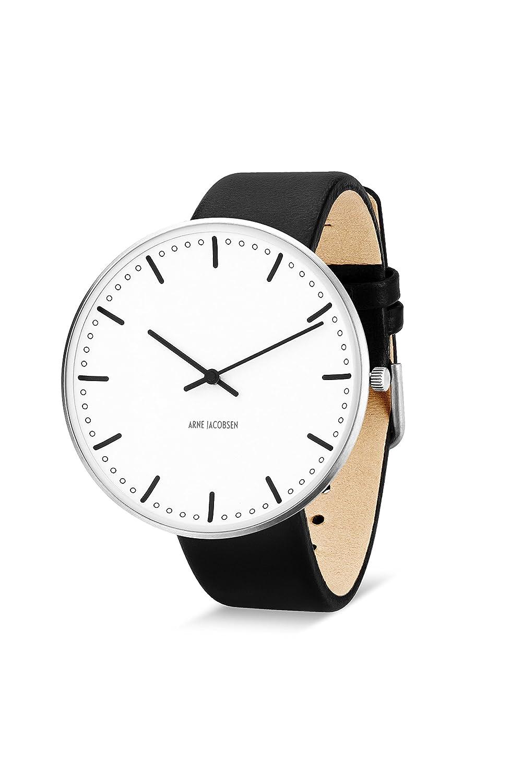 Arne Jacobsen Unisex Quarzuhr mit weißem Zifferblatt Analog-Anzeige und schwarz Lederband 53203