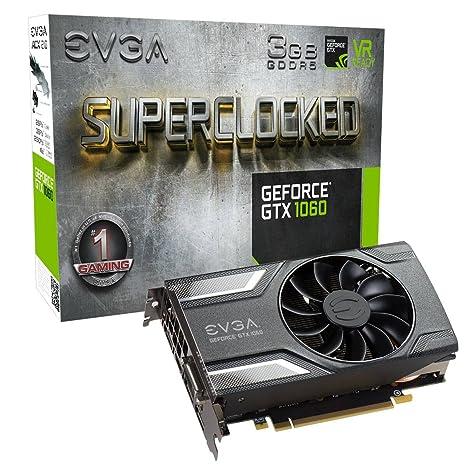 EVGA GeForce GTX 1060 3GB SC GAMING, ACX 2.0 (Ventilador simple), 3GB GDDR5, DX12 Soporte OSD (PXOC), Tarjeta Grafica 03G-P4-6162-KR