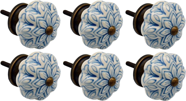 Nicola Spring Tirador para cajones y armarios Cer/ámica Azul Claro Pack de 12 Dise/ño con Flor Vintage