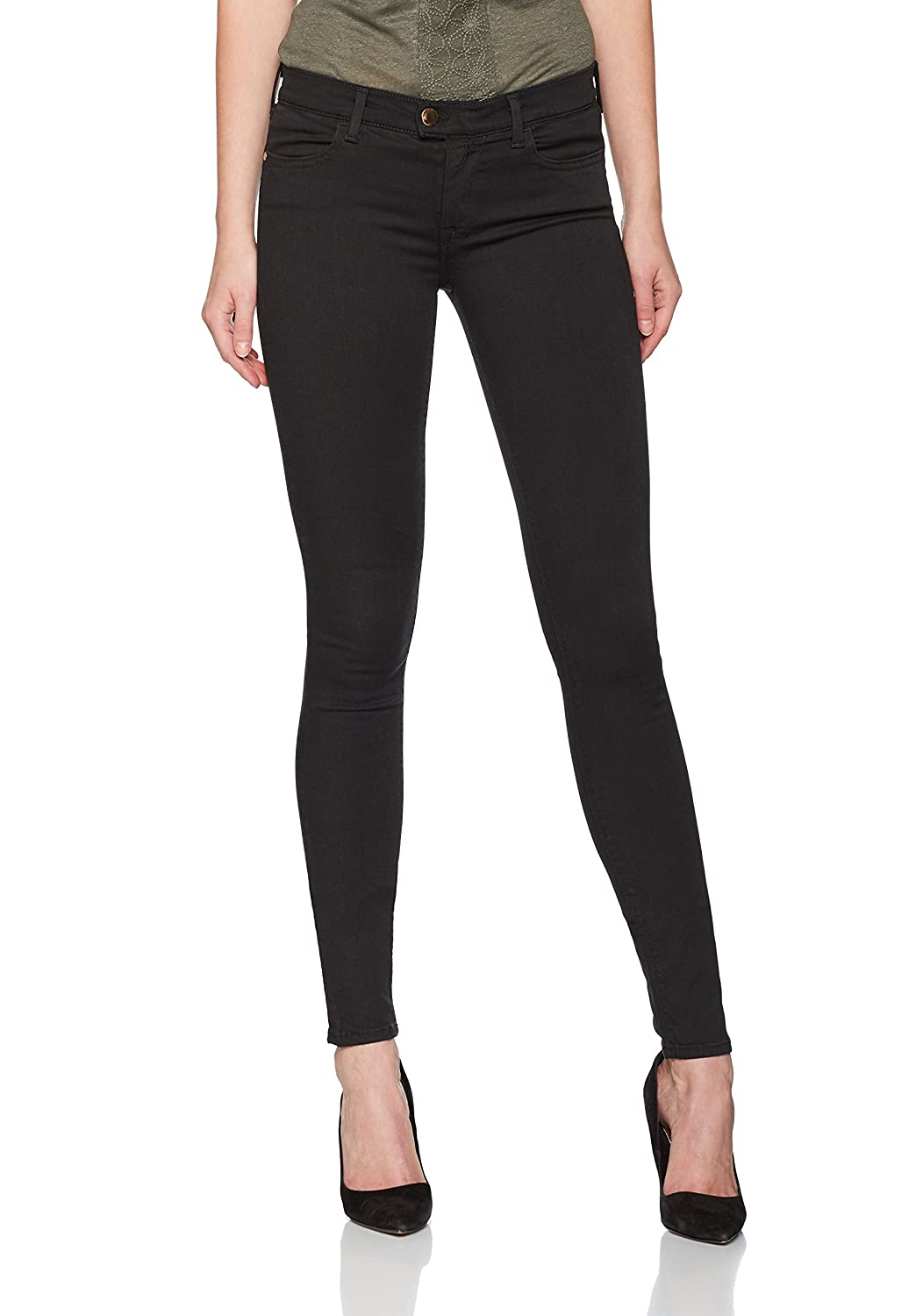 TALLA 29W / 32L. REPLAY Touch Dark Black Jeans Ajustados para Mujer