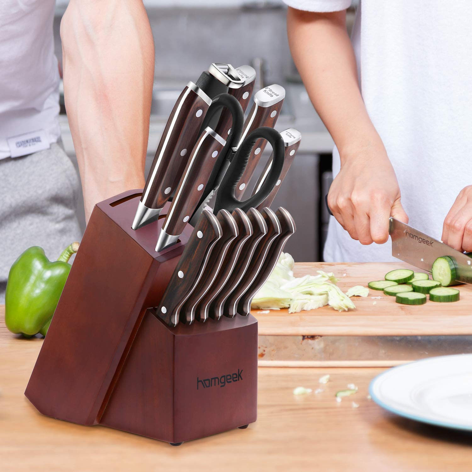 Chef Knife Set,15 Piece Knife set With Wooden Block,Wood Handle and German 1.4116 Stainless Steel,Full-Tang by homgeek (Image #7)