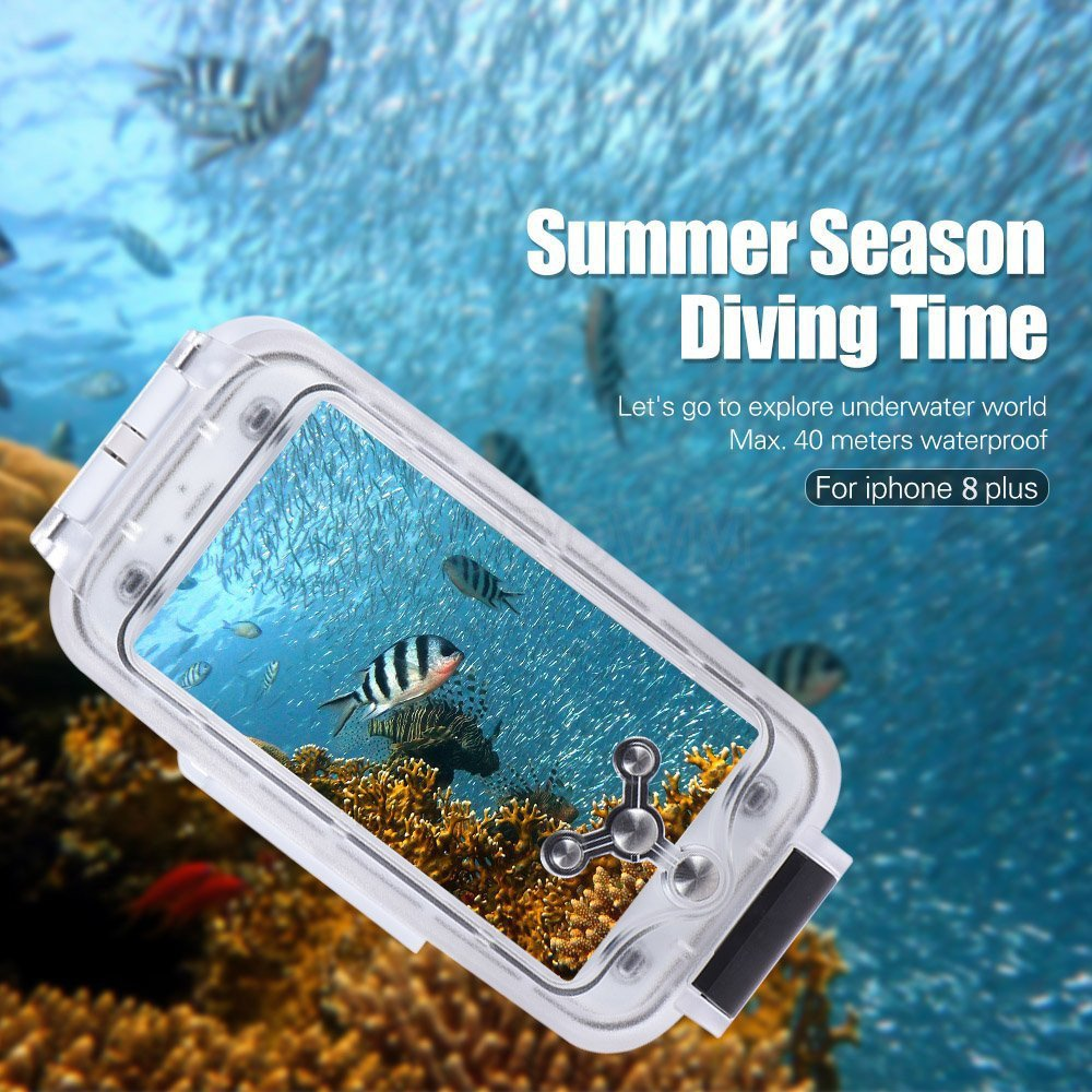 sale retailer 896b4 85707 BECROWMUS Underwater Waterproof Diving Case for iPhone 8 Plus Photography  Phone Housing Cover 40M/130ft Professional Deep-sea Dry Protective Case ...