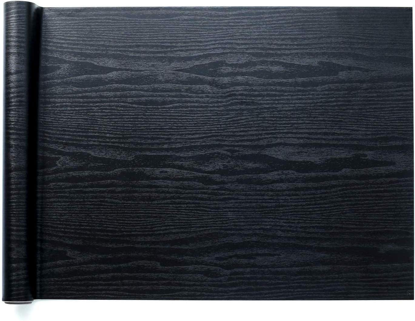 """Homein Black Wood Self Adhesive Paper 23.6""""x78.7"""" Decorative Self-Adhesive Film Wood Grain Wallpaper Peel and Stick Waterproof Wallpaper Black Vinyl Wallpaper for Cabinets Kitchen Furniture Countertop"""