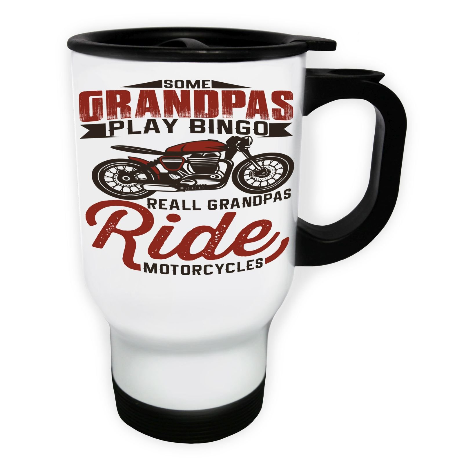 Some Grandpas Play Bingo Motorcycle White Thermo Travel Mug 14oz v815tw by INNOGLEN