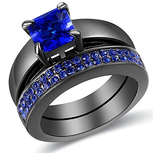 Amazon Com Carfeny Jewlery Blue Diamond Black Gold Plated Princess