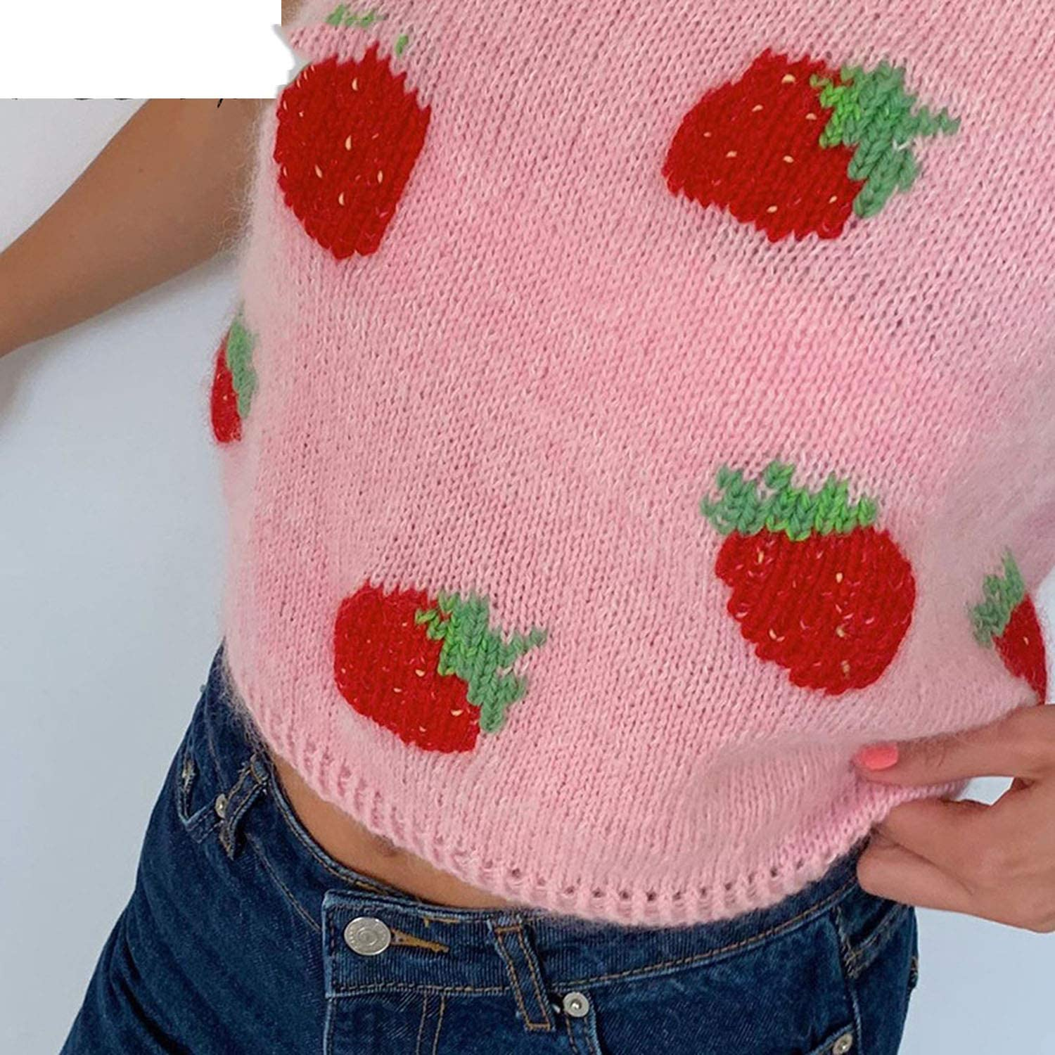 E-Girl Sweet Strawberry Printing Sleeveless Knitted Vests Y2K Fashion Vintage O-Neck Pink