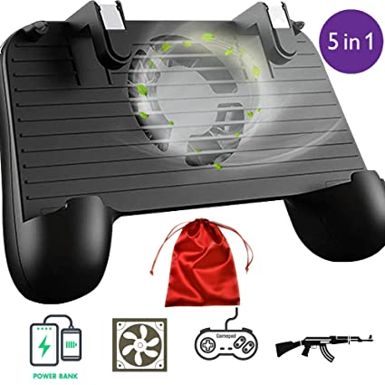 Mobile Game Controller with Built-in Cooling Fan &【Upgraded 4000mAh】 Power  Bank + Carrying Case, Compatible Play with Fortnite/PUBG On Any iPhone