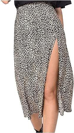 La Cintura Alta del Verano del Estampado Leopardo Atractivo de la Moda de Las Mujeres partió una Falda de la línea