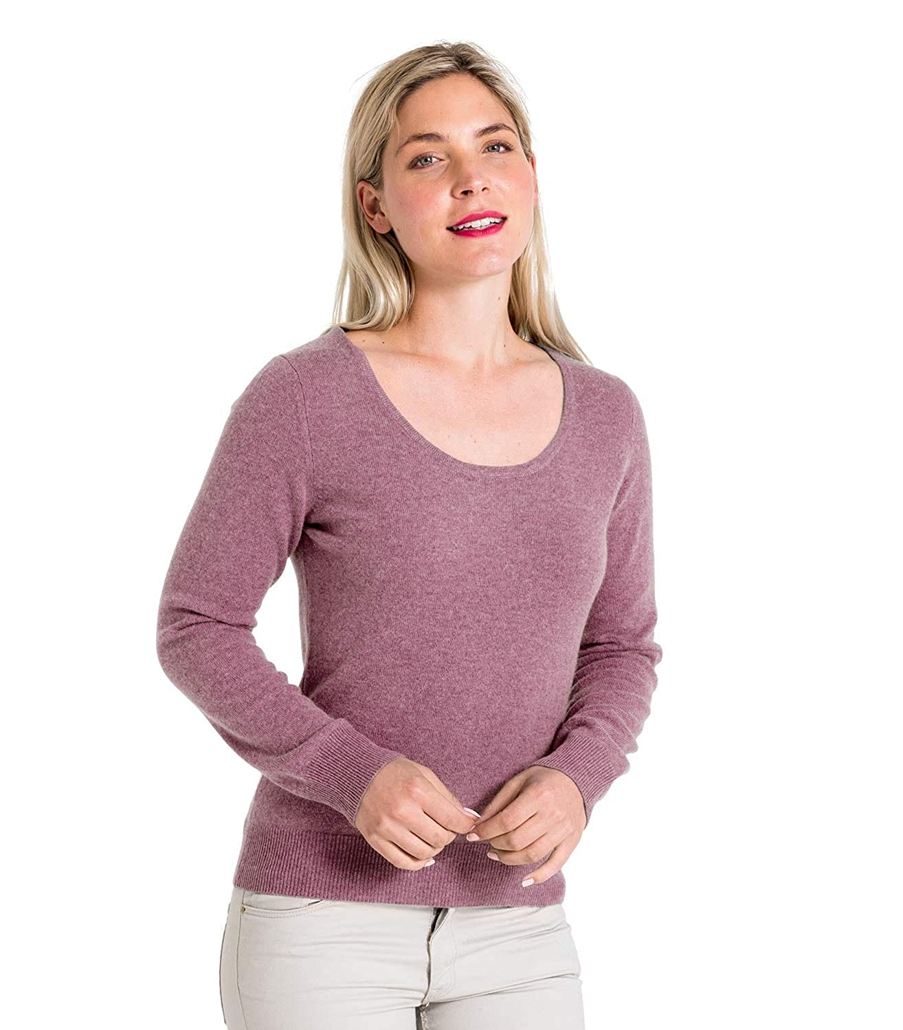 Woolovers Ladies Cashmere and Merino Scoop Neck Knitted Sweater