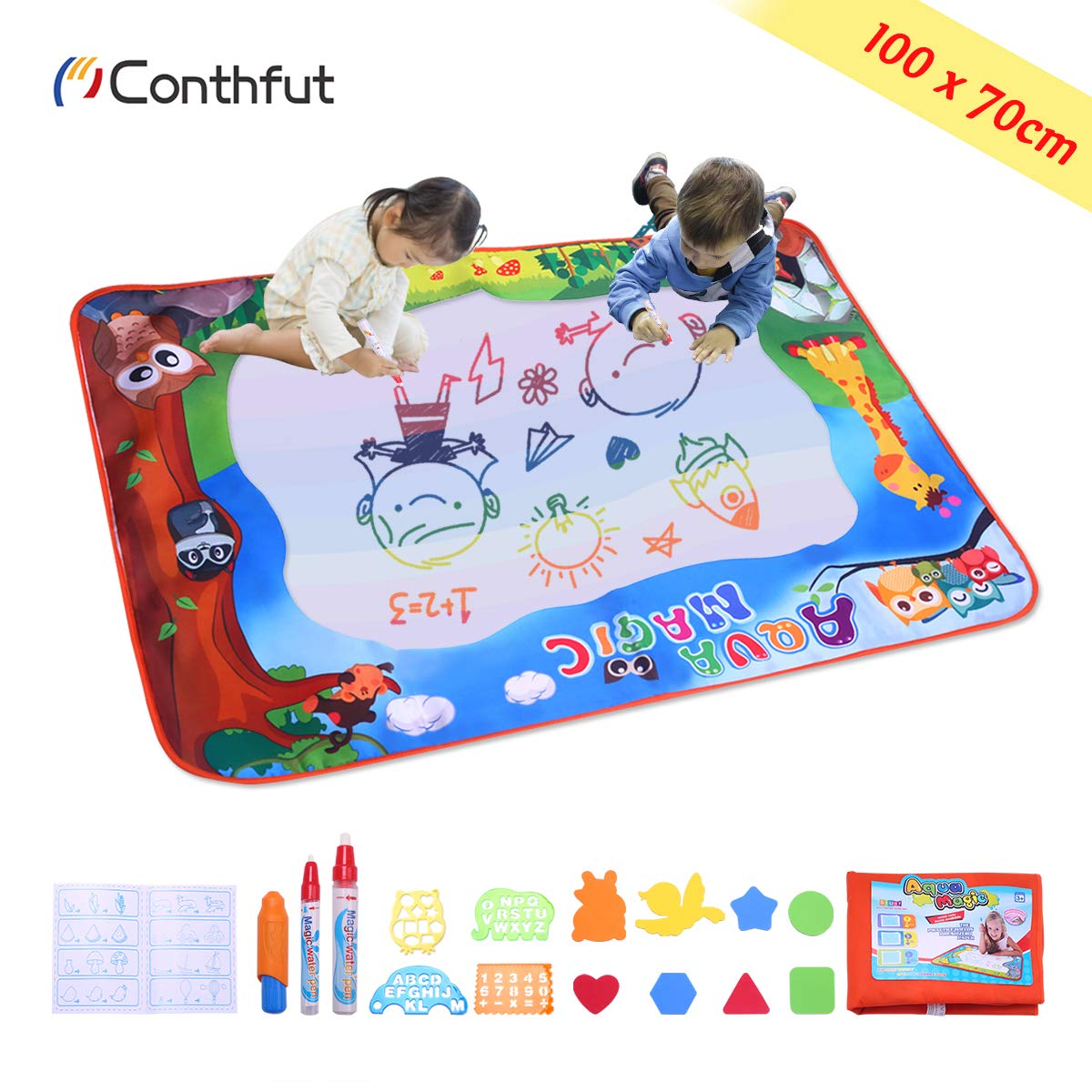 608035aa8e Conthfut Kids Toddler Wasser Zeichnen Matte Toy mit 2 Stiftes, 100 x 70 cm,  ...