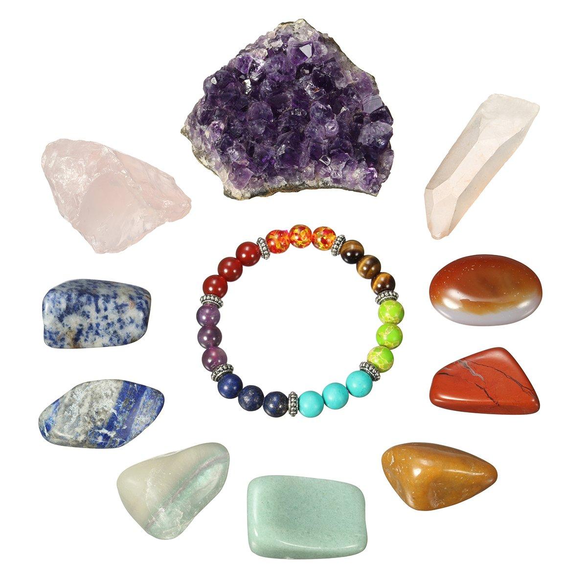 Edelsteine set, Charminer natürlicher Quarz-Kristall Heilsteine Halbedelsteine Dekosteine 11Stück Steine für Glück die Dekoration die Gesundheit Chraminer CHARMINERKO5TO3BA186