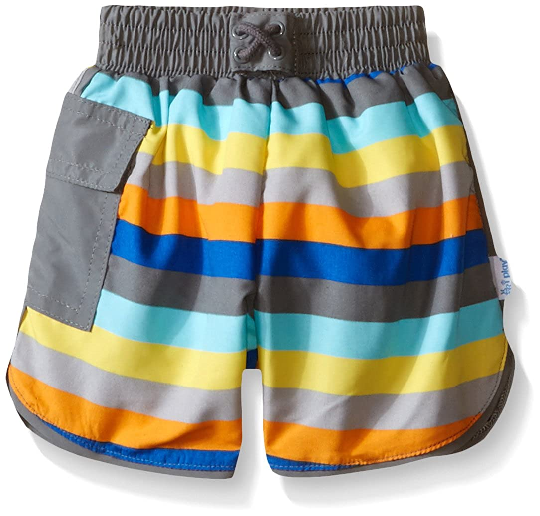 i play.. Baby Boys' Striped Pocket Board Shorts with Swim Diaper Gray/Stripe 18 Months i play Children's Apparel 722