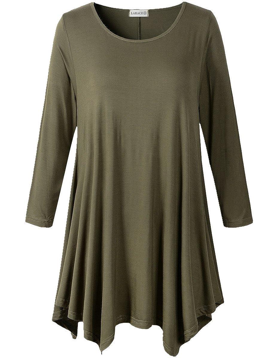 Amazon Larace Women Plus Size 34 Sleeve Tunic Tops Loose Basic