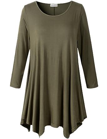 60d793fff50 Amazon.com  LARACE Women Plus Size 3 4 Sleeve Tunic Tops Loose Basic ...