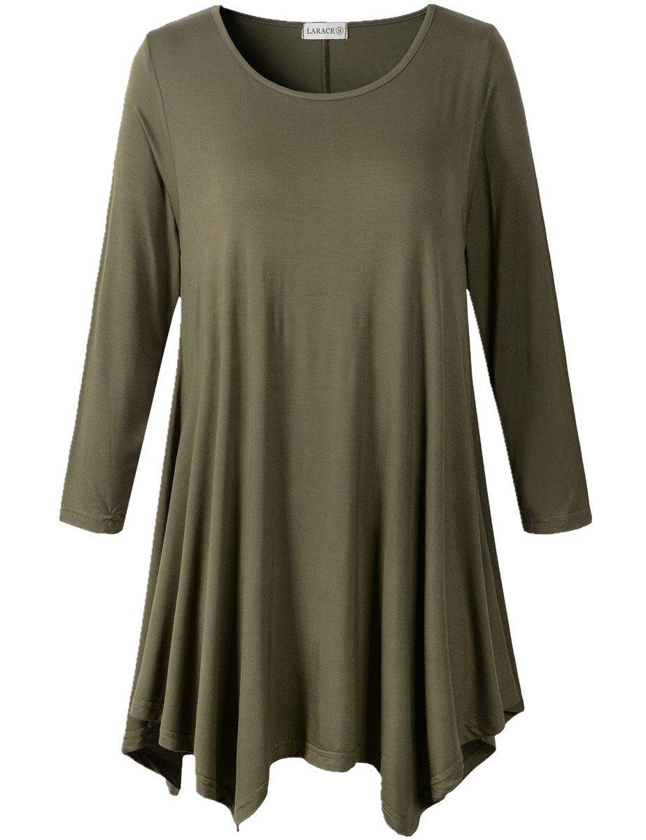 6526b7f72d2 LARACE Women Plus Size 3 4 Sleeve Tunic Tops Loose Basic Shirt product image