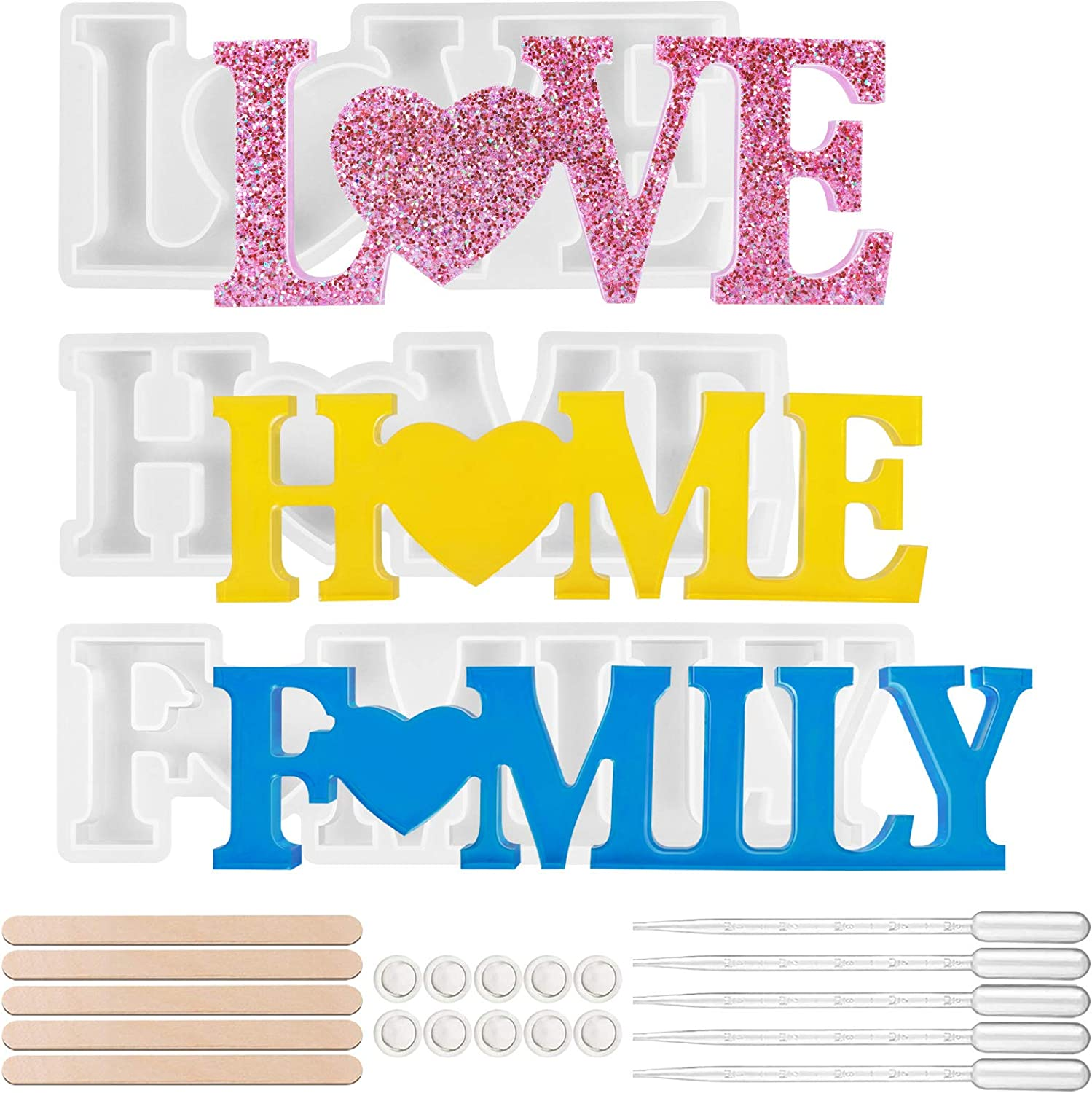 Resin Molds Silicone 3 Pcs Love Family Home Mold Set Unique Design Letters Crystal Resin Molds for DIY Epoxy Molds to Indoor/Home Decor