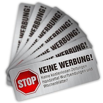 Keine Werbung Aufklebe Edelstahl-Look,Briefkastenaufkleber 16-St/ück