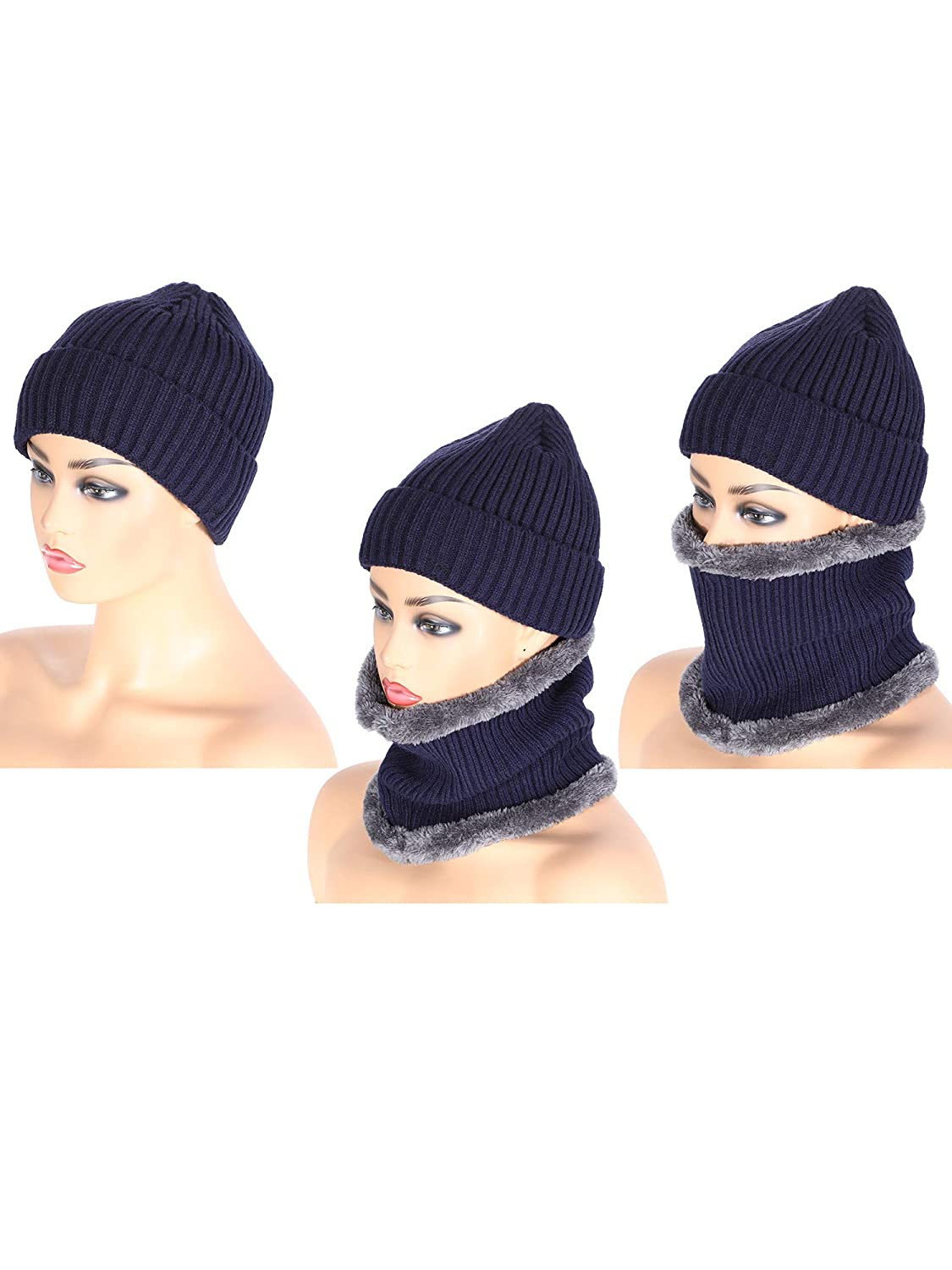 Tatuo 4 Pieces Ski Warm Set Includes Winter Hat Scarf Warmer Gloves Winter Outdoor Earmuffs for Adults Kids Set 8