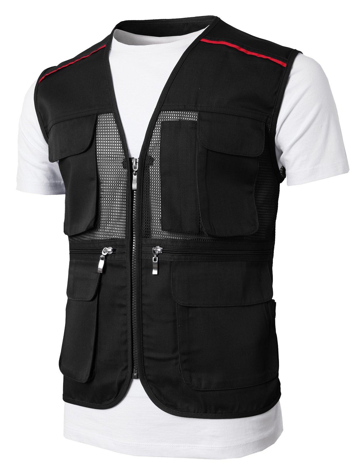 H2H Men's Outdoor Multifunction Multi-pocket Mesh Fishing Vest Of Line Point BLACK US M/Asia L (KMOV0146)