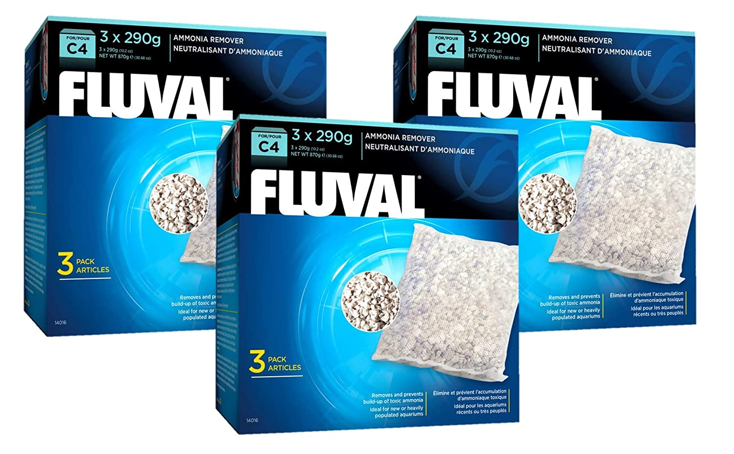 (9 Pack) Fluval C4 Ammonia Remover, 3 Packages with 3 Packs Each