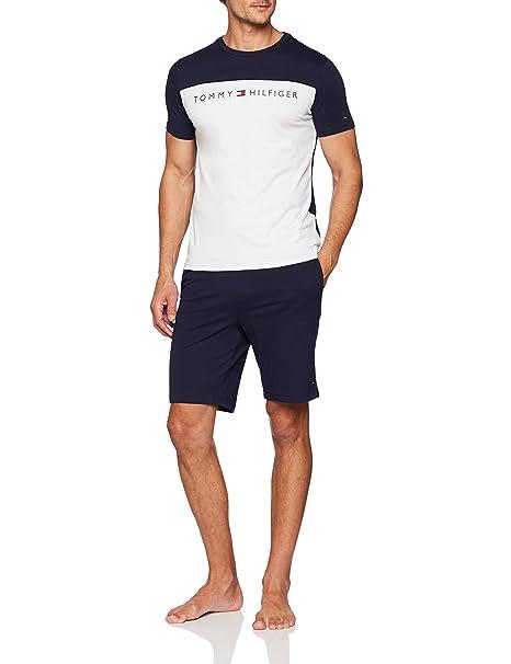 Tommy Hilfiger Short Set SS Logo, Pijama para Hombre, Azul (White/Navy