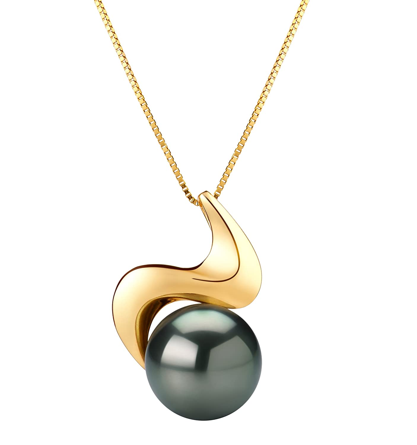 Black 10-10.5mm AAA Quality Tahitian 14K Yellow Gold Cultured Pearl Pendant