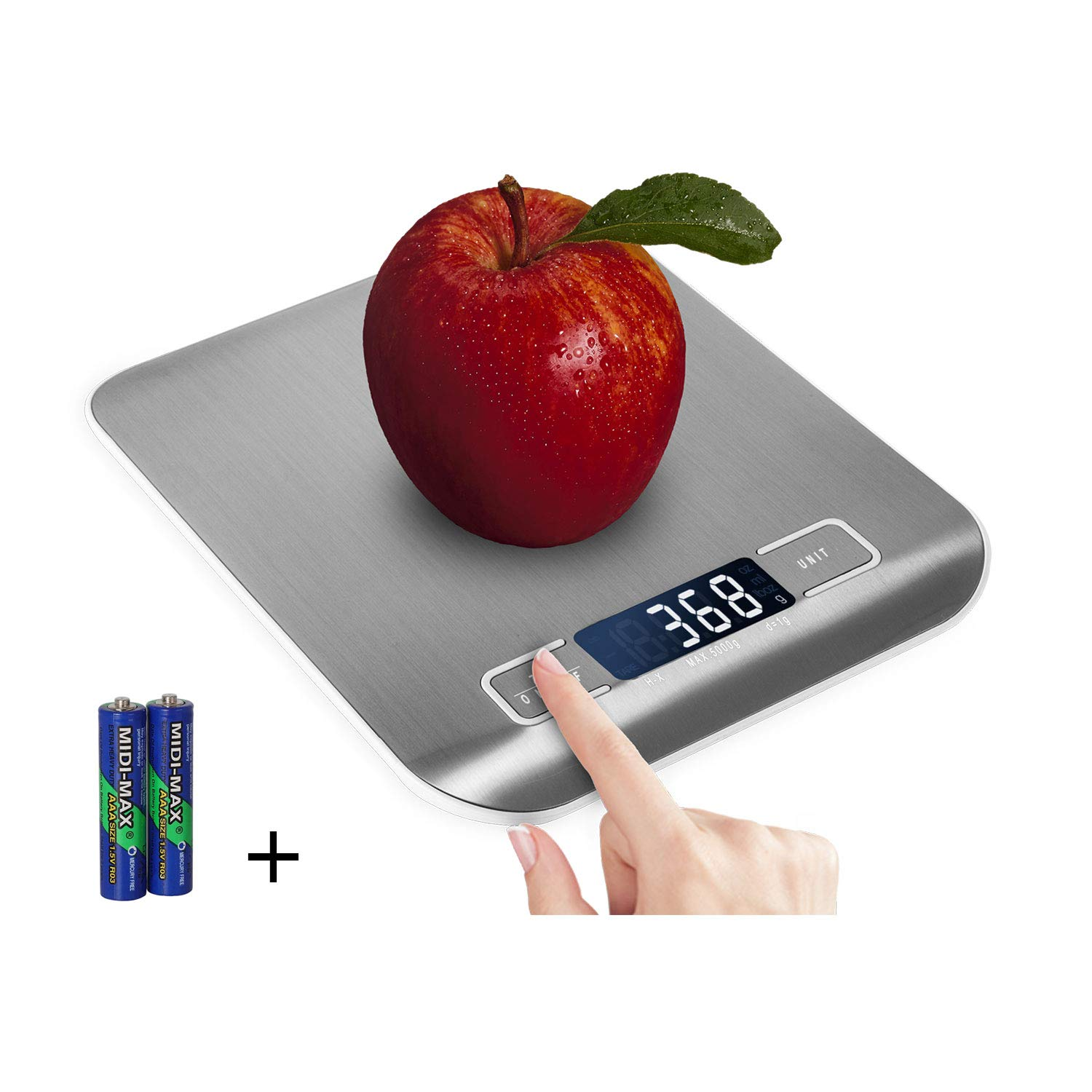 Domini Digital Kitchen Scale,Food Scale for Meat Baking Weighter,Unit Gram OZ lb Up 11 lb(1g-5KG) ,Silver Stainless Steel Anti-Fingerprint with Accuracy LCD Display for Cooking (include AAA Battery)