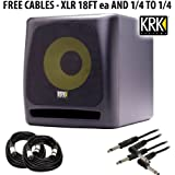 KRK K10S Powered Subwoofer - 10 Inch, 225 Watts + FREE (4) CABLES