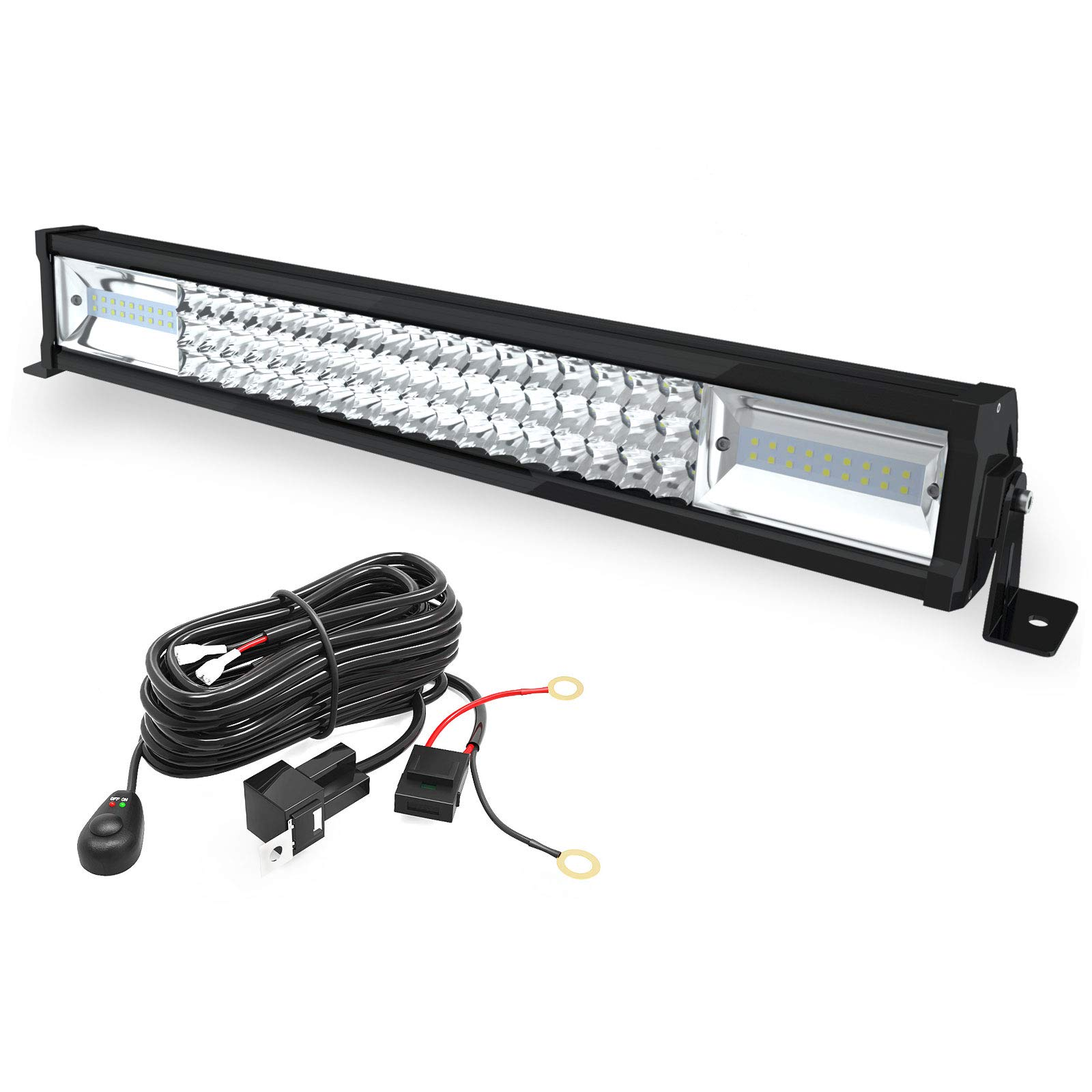LED Light Bar, YITAMOTOR 270W, 22 Inch Light Bar Spot Light Tri-Row Light Bar Wiring Harness compatible for SUV ATV Truck Pickup Boat 4WD 4X4 Off road Light Fog Driving Light, 20,000lm 3 Year Warranty
