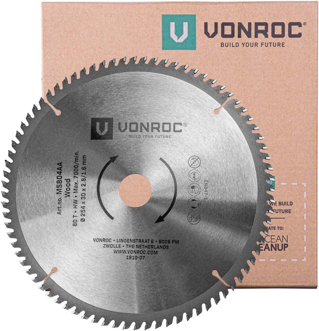 Auch f/ür Tischkreiss/ägen VONROC Kapps/ägeblatt f/ür Holz 80 Z/ähne Universal Gehrungss/ägeblatt 254 mm