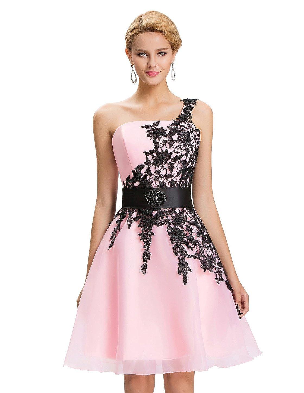 Vestidos de Prom Rosa Claro Juvenil Vestido para Coctel Vestido de Noche cordones 44: Amazon.es: Ropa y accesorios