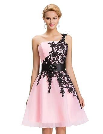 c218acd388609 Vestidos de Prom Rosa Claro Juvenil Vestido para Coctel Vestido de Noche  cordones 44  Amazon.es  Ropa y accesorios