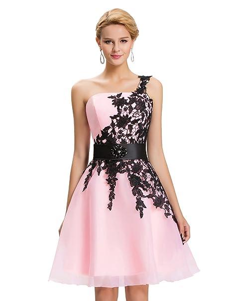 Vestidos de Prom Rosa Claro Juvenil Vestido para Coctel Vestido de Noche cordones 44