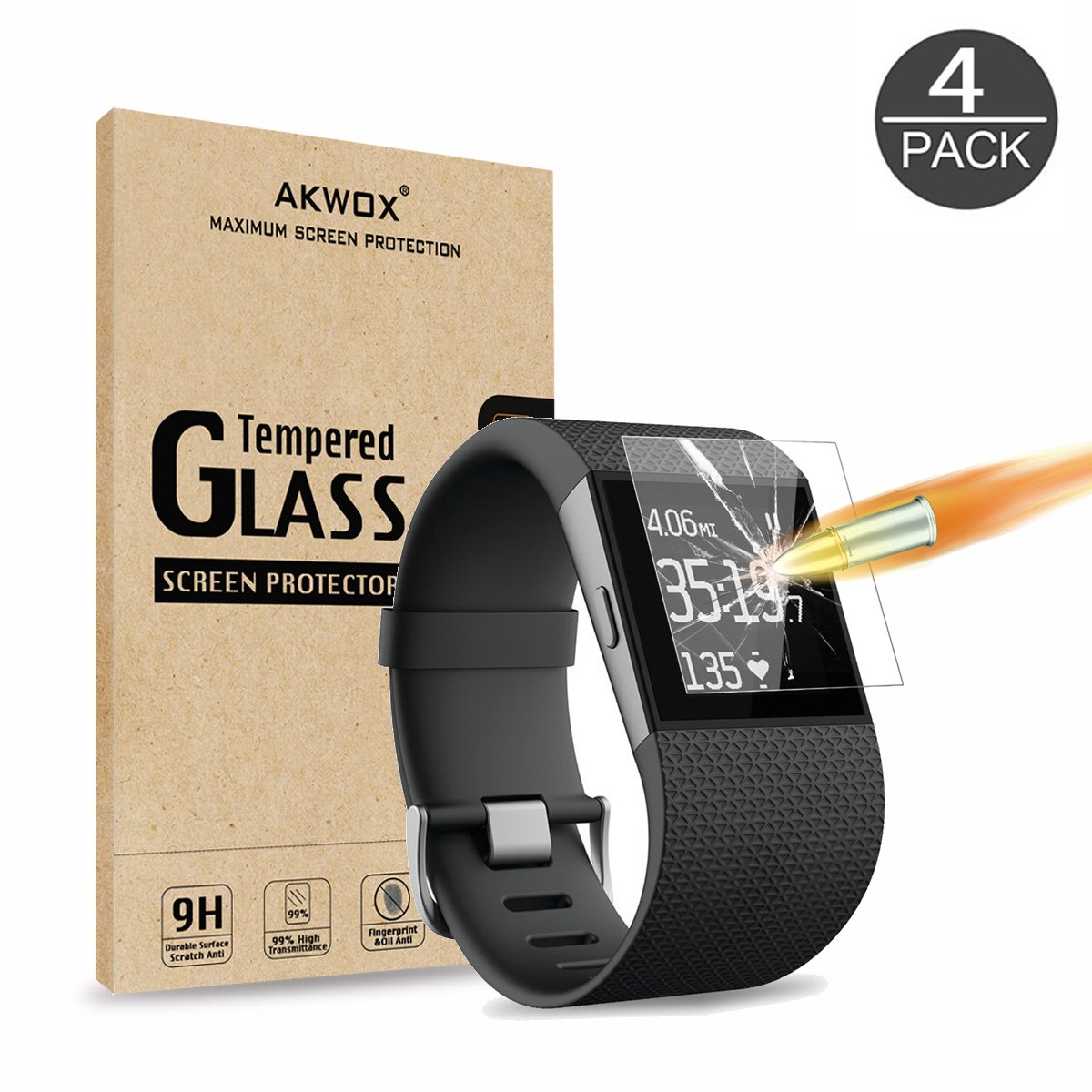(Pack of 4) Tempered Glass Screen Protector for Fitbit Surge, Akwox [0.3mm 2.5D High Definition 9H] Premium Clear Screen Protective Film for Fitbit Surge Fitbit Surge Fitness Superwatch