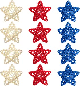 12pcs Patriotic Star Natural Wicker Balls 4th of July Rattan Balls DIY Craft Vase Filler Hanging Balls Ornaments for Memorial Day Veterans Day Independence Day Party (2.36 in, White Red Blue)