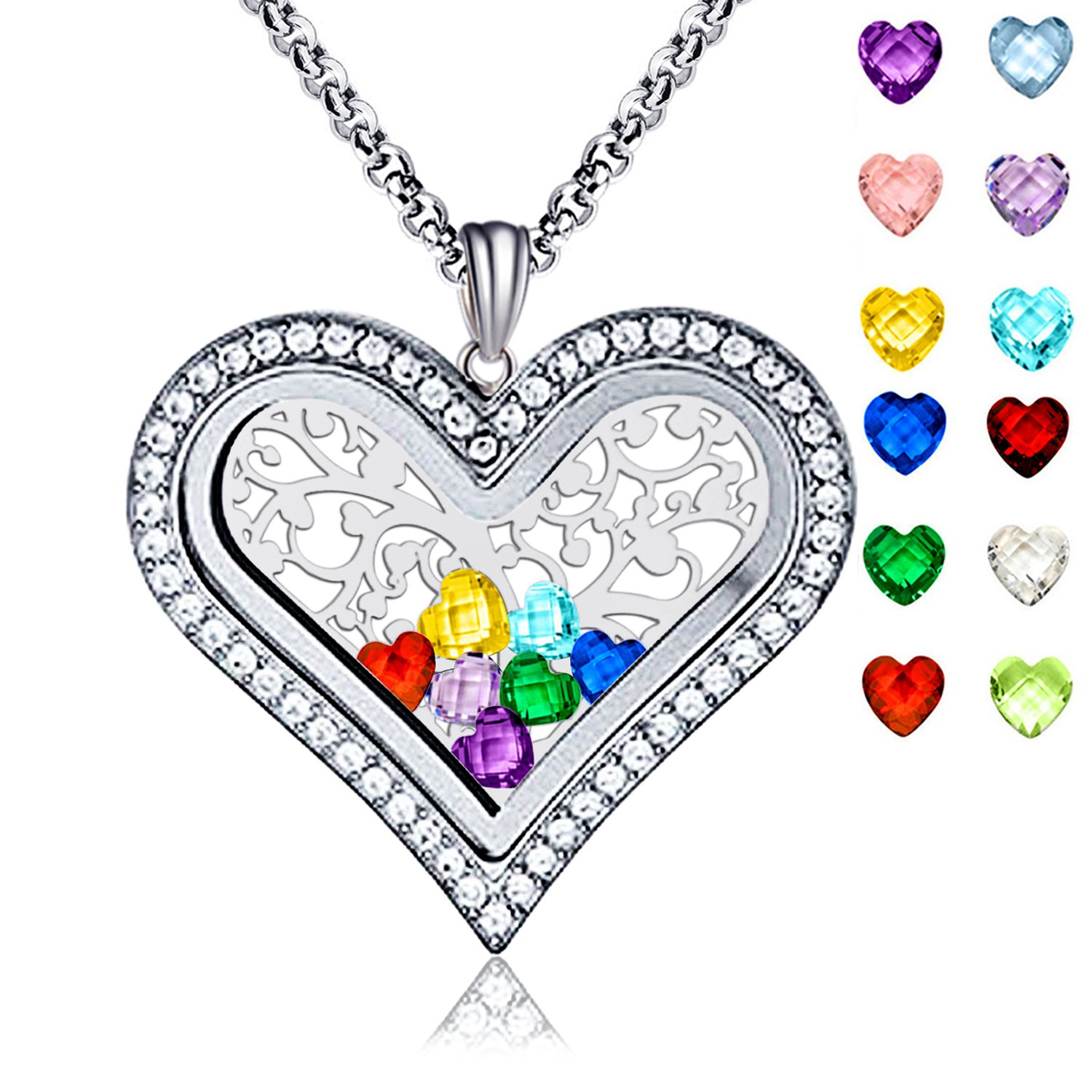 Family Tree of Life Floating Living Memory Love Heart Locket CZ Necklace All 12 Heart Birthstones Include XingYue Jewelry UK_B077T7MRHZ