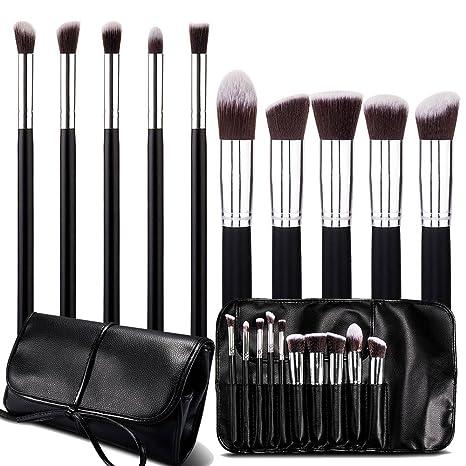 Roybens Premium Wood Handles 10 Piece Professional Cosmetic Kabuki Makeup Brush Set...