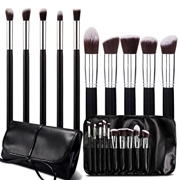 Roybens Premium Wood Handles 10 Piece Professional Cosmetic Kabuki Makeup Brush Set...