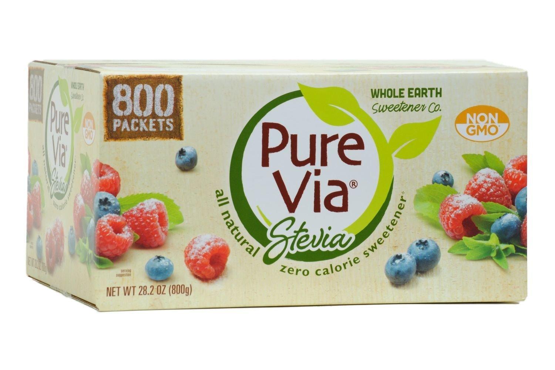 PURE VIA Stevia Sweetener Packets, Sugar Substitute, Natural Sweetener, Zero Calorie Natural Sweetener Packets, 800 Count