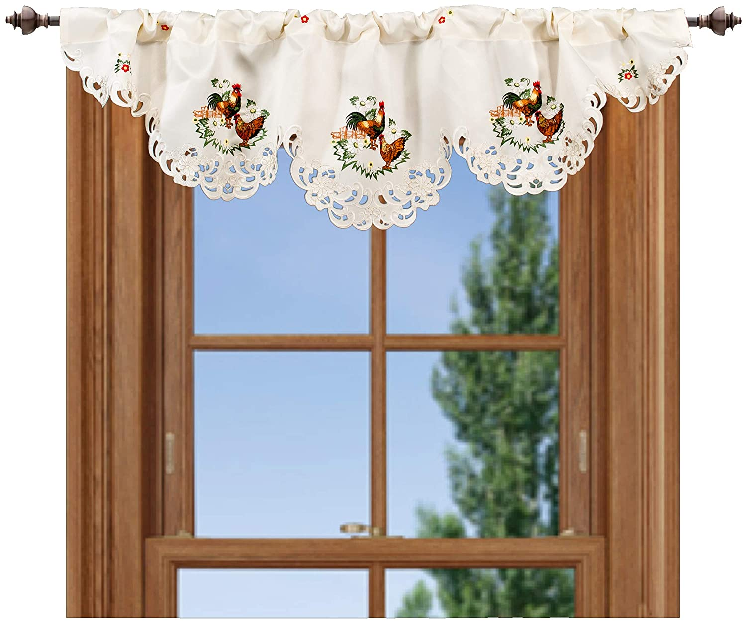 """Linens, Art and Things Embroidered 16"""" X 54"""" Rooster & Hen Window Valance"""