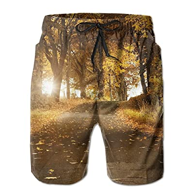 Men's Shorts Swim Beach Trunk Summer Autumn Yellow Trees Fit Fashion Shorts With Pockets