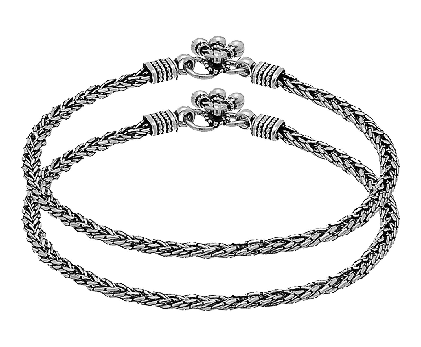 D&D Crafts Modern Sterling Silver Anklet with Oxidized Silver Plating for Women, Girls