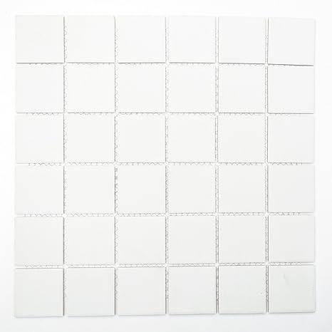 Piastrelle Mosaico Bagno Cucina Piano Quadrato In Ceramica Tinta Unita  Bianco Opaco 6 Mm Nuovo R10