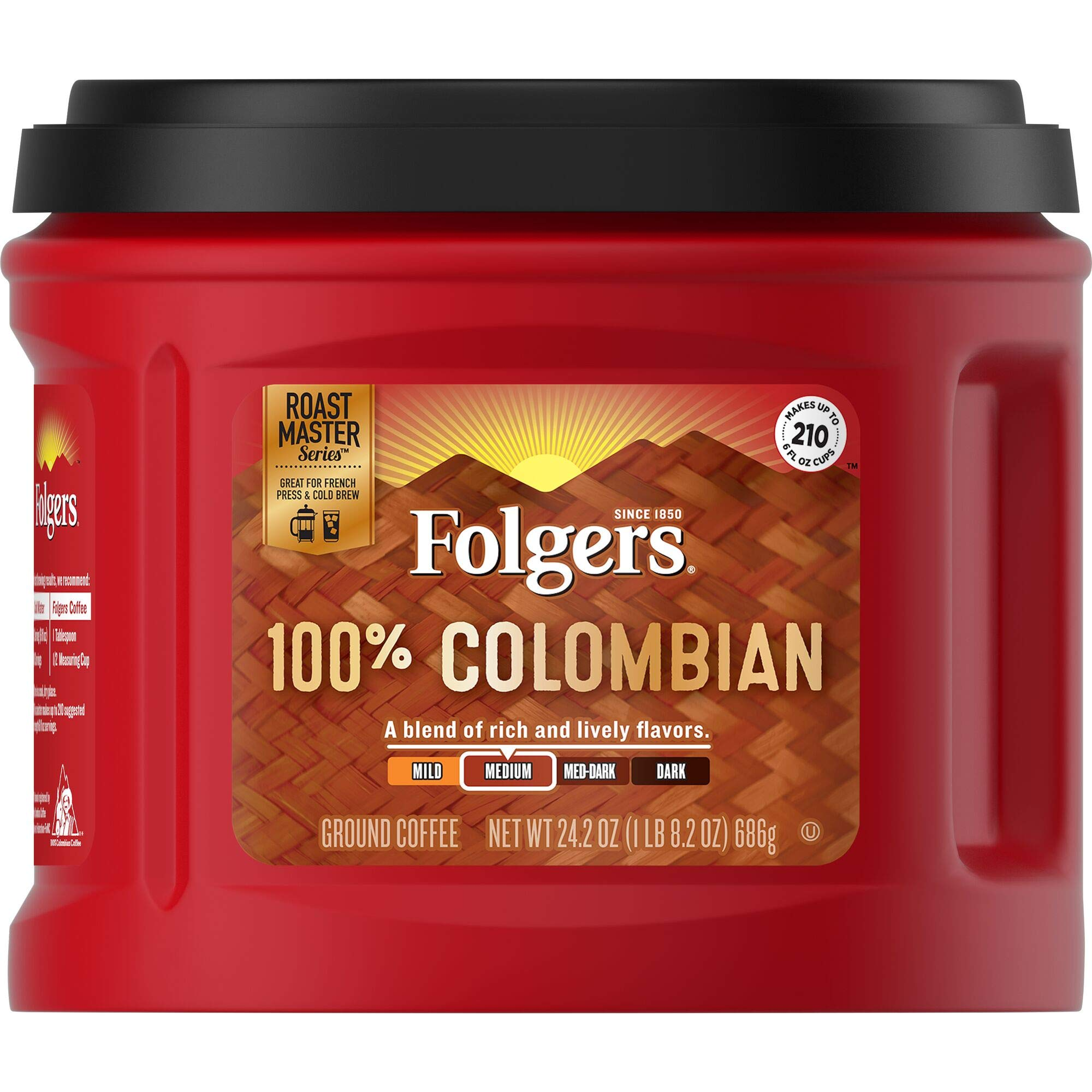 Folgers 100% Colombian Ground Coffee, Medium Roast, 24.2 Ounce, Pack of 6 by Folgers