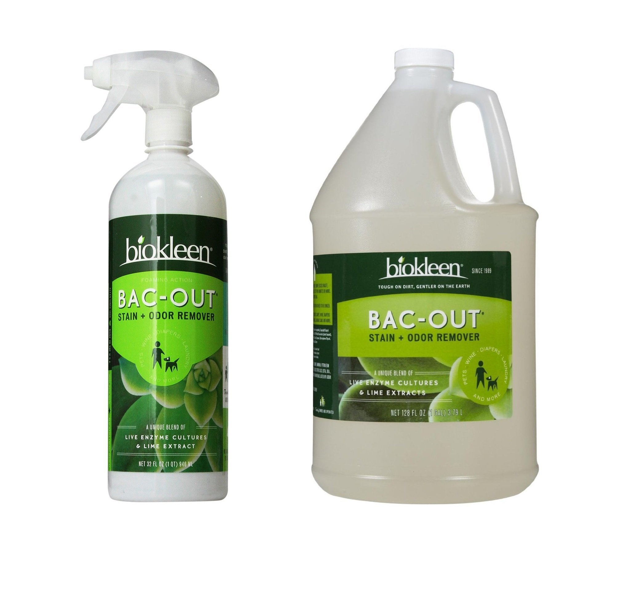 Biokleen Bac-Out Stain and Odor Remover Foam Spray (32 oz) with Refill (128 oz) by Biokleen