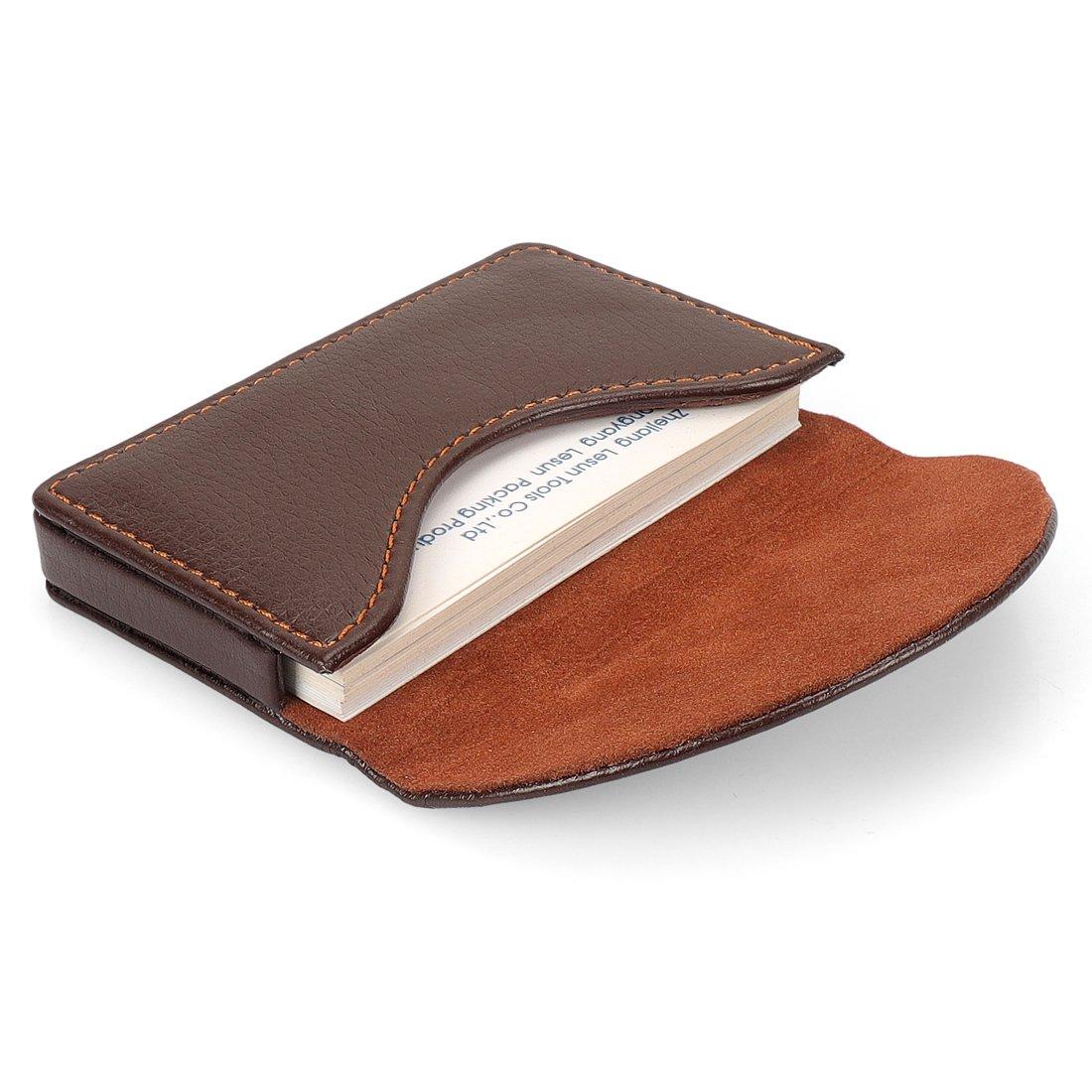 Yobansa PU-Leder-Visitenkartenhalter, Brieftasche, Kreditkarten, Visitenkarten, Namenskarten, Schutzhülle mit magnetischer Schnalle für Damen und Herren Schwarz