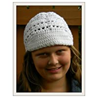 Crochet Women's White Cap with Visor, White Hat, Boho Cap, Handmade Winter Fall Hat, Newsboy Style