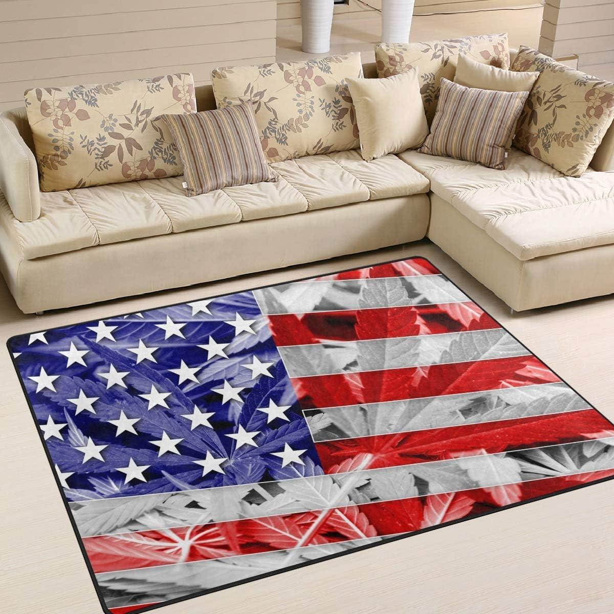 N/A Alfombra rectangular lavable con diseño de bandera de Estados Unidos en hoja de marihuana y cannabis, alfombra rectangular para dormitorio, sala de estar, 100 x 150 cm