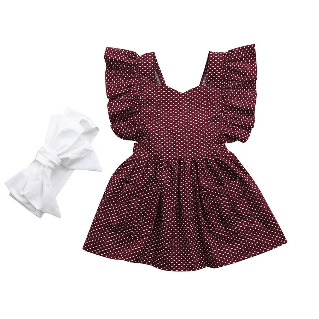 Xshuai® 2Pcs Fashion Baby Girls Infant Kids Heart Dress+Headband Clothes Casual Dresses Set