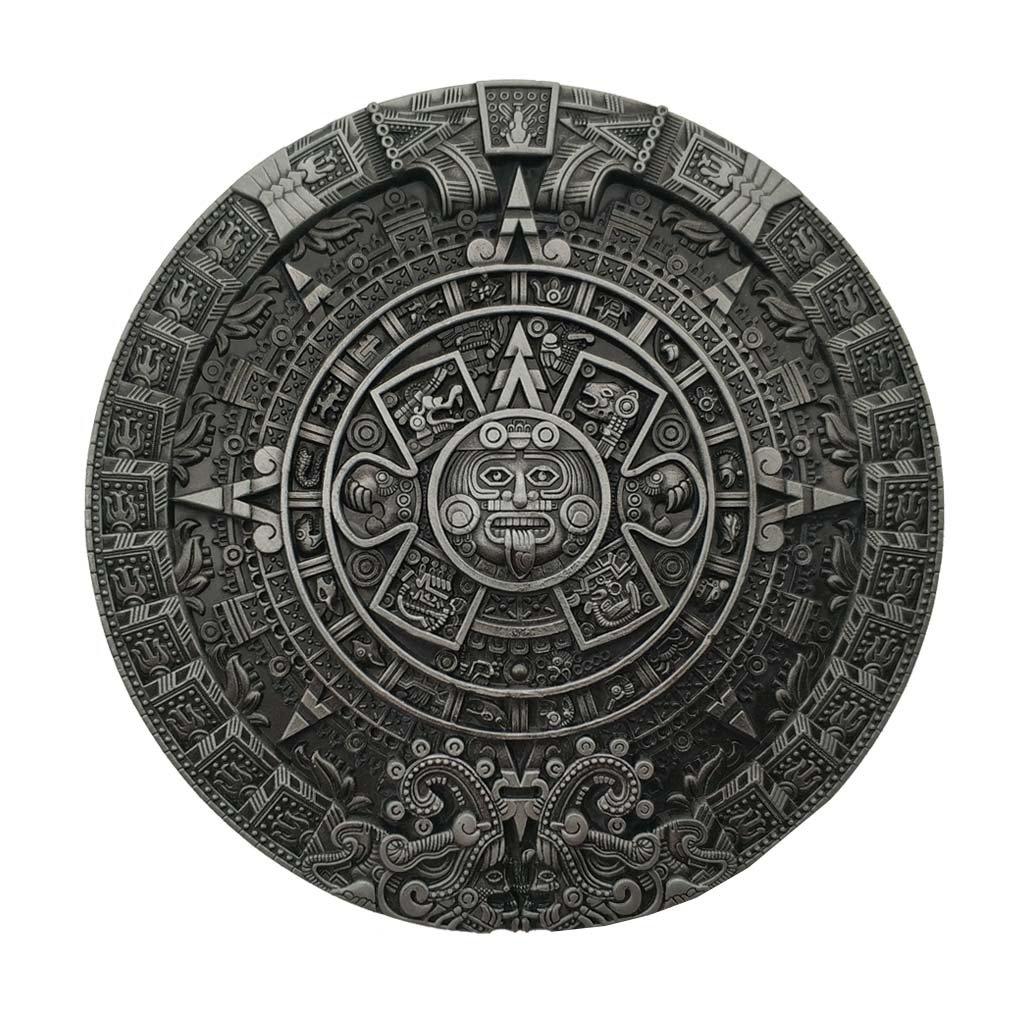 YONE Fibbia per Cinture Mayan Aztec Calendar Belt Buckle
